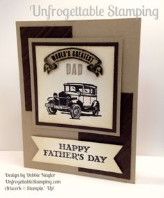 Unfrogettable Stamping Fabulous Friday Father's Day card featuring the Guy Greetings stamp set, Stylish Stripes embossing folder and Triple Banner punch by Stampin' Up! Masculine Birthday Cards, Birthday Cards For Men, Masculine Cards, Male Birthday, Fathers Day Crafts, Happy Fathers Day, Greeting Card Video, Greeting Cards, Stampin Up Cards