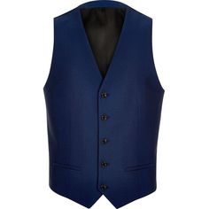 River Island Bright blue suit waistcoat ($40) ❤ liked on Polyvore featuring men's fashion, men's clothing, men's outerwear, men's vests, men, vest, suits, mens vests outerwear, mens waistcoat and mens outerwear