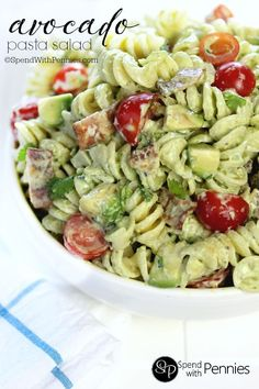 Cold pasta salads are the perfect & satisfying quick dinner or lunch! This delicious pasta salad recipe has a homemade avocado dressing loaded with flavor!