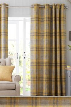 Buy Astley Bouclé Check Eyelet Curtains from the Next UK online shop