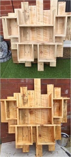 This is quite an interesting wood pallet shelf idea which you can keep over the top of the wall cladding for the purpose of outdoor garden decoration reasons. This shelving pallet idea has been so amazingly put together in the creative formations with the divisions of shelving.