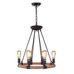 LNC Rustic Rope Chandeliers, 6-light Pendant Lighting for Kitchen, Dining Room, Living Room, Restaurant