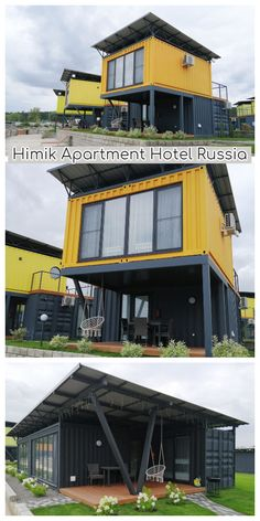 "Himik Apartment Hotel – Russia This is an apartment hotel ""Himik"" project made of containers. The houses in the hotel are made of 3 types, one and two-storey with terraces for relaxation. Container Hotel, Building A Container Home, Container Buildings, Container Architecture, Container House Plans, Types Of Architecture, Container Home Designs, Shipping Container Cabin, Steel Frame House"