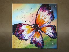 Tablou pictat manual FLUTURE  1-piesă  6101FA Art Journal Inspiration, Painting Inspiration, Art Inspo, Acrylic Painting Canvas, Acrylic Art, Canvas Art, Butterfly Drawing, Butterfly Painting, Flower Art