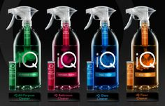 iQ-refillable cleaners, eco-friendly, minimalistic and modern packaging design