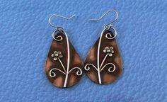 Dangle Rustic Flower Metalwork Earrings w/Sterling Silver Earwires. $28.00, via Etsy.