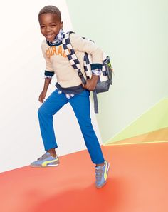 done and done. J.Crew boys' Courage sweatshirt, dark cove gingham shirt and sun-faded chino pants.