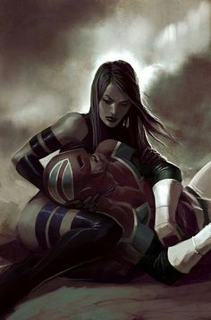 Psylocke and Captain Britain by Jelena Kevic-Djurdjevic