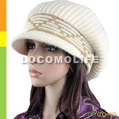 knit hats for women | Women Slouchy Zig Zag Fluffy Fur Knit Crochet Hat Brim Cap Beige ...