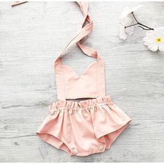 Baby girl romper / Pinafore baby romper / Cotton baby clothes / Summer baby romper / Newborn baby cl
