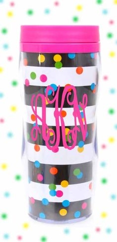 This Mug makes a great #birthday present!  Monogrammed Confetti Double Wall Acrylic Travel Mug $24.99 - from marleylilly.com #party #partymug #coffee #preppy #celebrate