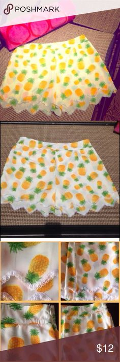 """NEW Pineapple Shorts 28/29 Medium Brand new without tags, perfect condition. Last one in stock, boutique. Fits a 28-29 waist; waist measures approx 15"""" flat. Super adorable pineapple print Relaxed fit, great for summer and the beach or just lounging around! Broadcloth material, delicate lace trim with dual scalloped bottoms. Hidden slim side zipper. SUPER CUTE! *tagged brand for visibility only* For Love and Lemons Shorts"""