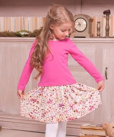 Look what I found on #zulily! Pink Floral Contrast Dress - Toddler & Girls #zulilyfinds