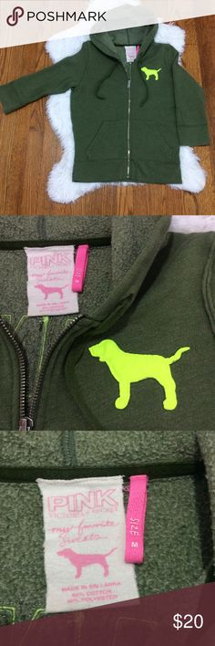 """VS PINK Hoodie Heavyweight hoodie with 3/4 sleeve and logo appliqués. Olive green with lime green accents, zippered front, 2 pockets and drawstring hood. P-P 18 1/2"""" S-H 24"""" PINK Victoria's Secret Tops Sweatshirts & Hoodies"""