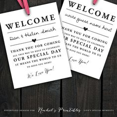 INSTANT DOWNLOAD Printable Wedding Welcome Bag Tags, Labels, Hotel Welcome Bags…