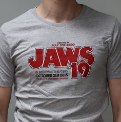 JAWS 19 - Grey Marl Fitted T-shirt