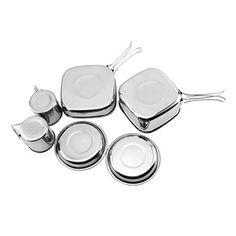 6pcs Petit Camping Batterie de Cuisine en Acier Inoxydable Backpacker extérieur Pique-Nique Pot Set Pan Kit d'outils pour Cuisson Backpacking Randonnée Plage Paquet Barbecues