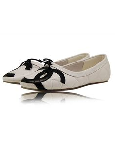 Chanel Flats Round Toe Double CC 8233 White