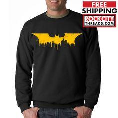 BATMAN SKYLINE CREW NECK Hooded Sweatshirt Joker Dark Symbol Knight Rises Bane #RockCityThreads #SweatshirtCrew