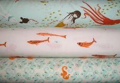 Heather Ross' Mendocino fabric: mermaids and seahorses in aqua   Whipstitch
