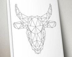 geometrical bull head tattoo - Google Search