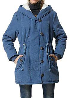 030266b54bc Papijam Womens Plus Size Safari Warm Hooded Military Parka Jacket Coat Blue  2X-Large Hooded