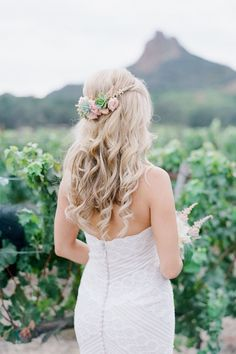 "I love the succulents in her hair piece! Just a fun idea :) ""Picture Perfect Malibu Garden Wedding - MODwedding"""