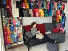 Make your yarn collection double as wall decor! Plus, you don't have to walk too far to grab more yarn :) Crochet Crafts, Crochet Yarn, Yarn Crafts, Crochet Projects, Sewing Crafts, Yarn Storage, Craft Room Storage, Storage Ideas, Storage Solutions