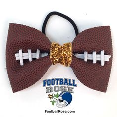 Handmade Football Hair Bow made from real football leather with metallic blue velvet ribbon center Blue Sparkles, Gold Sparkle, Football Hair Bows, Different Font Styles, Elastic Hair Ties, Making Hair Bows, Metallic Blue, Velvet Ribbon, Ribbon Colors
