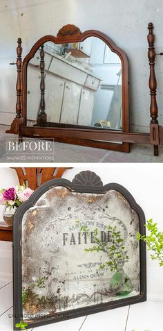 DIY Antiqued Mirror and How To Apply Prima Transfers DIY Antiqued Mirror and How To Apply Prima Transfers Salvaged Inspirations The post DIY Antiqued Mirror and How To Apply Prima Transfers appeared first on Vintage ideas. Furniture Projects, Furniture Makeover, Diy Furniture, Diy Projects, Modern Furniture, Antique Furniture, French Furniture, Furniture Logo, Antique Decor