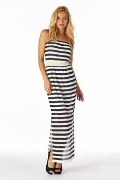 Shop Online | EmLee | Willa Boutique | EmLee and Willa Boutique Strapless Maxi, Stripes, Boutique, Ivory, Fashion Trends, Shopping, Clothes, Navy, Dresses
