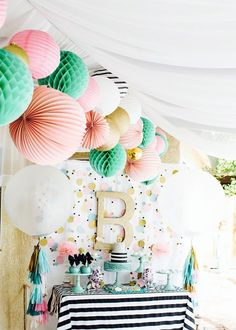 Cue the Confetti Party- sequins- stripes- glitter- tassels- gold- dessert table- tissue balls - pink & green party decorations Party Decoration, Birthday Decorations, Baby Shower Decorations, Paper Decorations, Boy Baby Shower Themes, Baby Boy Shower, Baby Showers, First Birthday Parties, Girl Birthday