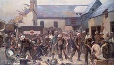 An Advanced Dressing Station, France: Cars Supplied by the British Red Cross Society and Order of St John of Jerusalem, Assisting in the Evacuation of the Wounded by Haydn Reynolds Mackey and Gilbert Rogers.  Painted: 1918–1919