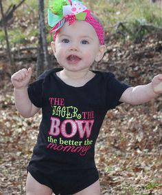This Black 'The Bigger the Bow' Bodysuit - Infant by Under The Hooded Towels is perfect! #zulilyfinds