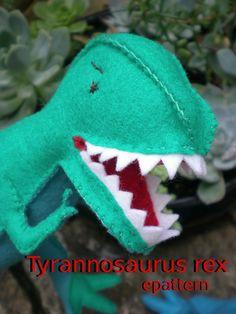 Tyrannosaurus rex epattern by tiddliwinktoys on Etsy Diy Christmas Ornaments, Felt Christmas, Dinosaur Pattern, Dinosaur Puppet, Sewing Equipment, Tyrannosaurus Rex, Running Stitch, Blanket Stitch, Felt Hearts