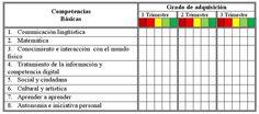 Esquema de rúbrica para la evaluación de las Competencias Básicas.