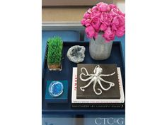A Trovare Home tray showcases a geode box and silver octopus from the Open House | GALLERY Tour a Greenwich Home Designed with Kid-Friendly Touches - Connecticut Cottages & Gardens - January 2016 - Connecticut
