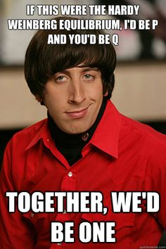 if this were the hardy weinberg equilibrium, i'd be p and you'd be q ...