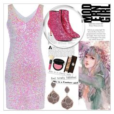 """""""Pink Glitter"""" by michelle858 ❤ liked on Polyvore featuring Saks Fifth Avenue, Nasty Gal, Etude House and Bobbi Brown Cosmetics"""