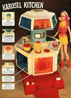 Oh, how I wanted this tiny kitchen from the Sears catalog every christmas.  Karosel Kitchen - Sears, 1971
