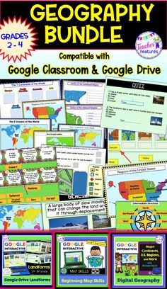 Google Classroom / Google Slides Designed to teach geography, landforms and map skills. It includes 81 interactive Google Slides with movable pieces and interactive text boxes to make learning about World Continents, U.S. Regions and Landforms extra fun! #GoogleClassroom #GoogleSlides #NoPrep #GeopgraphyActivities  #TeacherFeatures #2ndGrade  #SecondGrade #Landforms #Continents #MapSkills #USRegions #Oceans #WorldContinents #3rdGrade #ThirdGrade #4thGrade  #FourthGrade