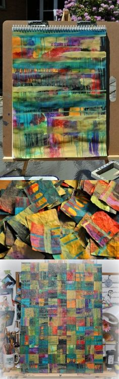 Watercolor mosaic - really like this idea  art journal. Paste paper works too.   Great project for a class project, upper or lower grades.  Mounting the work on canvas adds a very professional look to the completed collage.