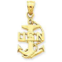 14k Polished OpenBacked United States Navy Anchor Pendant  Measures 32x15mm  JewelryWeb * Check this awesome product by going to the link at the image.(This is an Amazon affiliate link and I receive a commission for the sales)