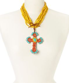 Another great find on #zulily! Yellow Filigree Cross Pendant Necklace by Oori Trading #zulilyfinds