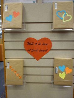 Blind Date with a Book | Greene County Public Library Click through for more photos! Library Work, Teen Library, Library Boards, Library Shelves, Library Ideas, Book Displays, Library Displays, Bulletin Board Display, Bulletin Boards