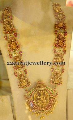 Jewellery Designs: Asta Lakshmi Long Chain with Rubies
