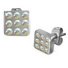 Paved Deco Square Stainless Steel Stud Earrings w/ Gemstones