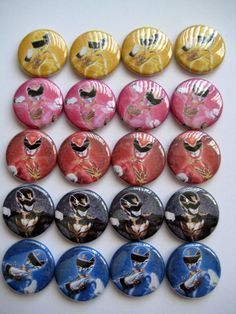 20 Power Rangers Pin Back Button Party Favor Supply by PaperCandys, $9.25