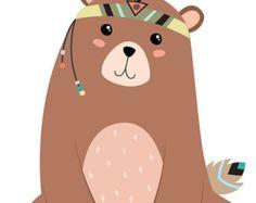 Bear Printable, Bear Nursery Art, Bear Print, Brown Bear, Bear Art, Baby Bear Cub Art, Bear Illustration, Tribal Nursery Print, Tribal Print