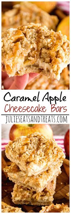 Caramel Apple Cheesecake Bars Recipe ~ Delicious Apple Bars with a Cream Cheese Layer that Melt in Your Mouth! Don't forget the Caramel Topping! on MyRecipeMagic.com